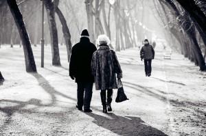 Seniors taking a walk