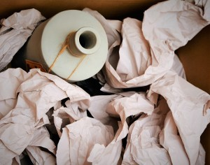 Pottery packed in a box with tissue paper